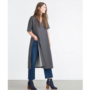 Zara Sz Small Long Tunic Split Sides Dress Gray
